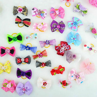 20pcs New Assorted Pet Cat Dog Hair Bows with Rubber Bands Grooming Gift