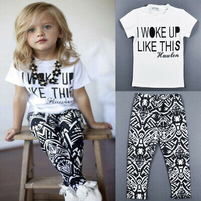 Toddler Baby Girls Kids Tracksuit Sweatshirt Hoodie Top Jogging Pants