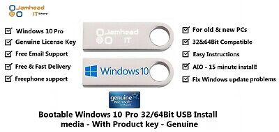 Microsoft Windows 10 Pro Genuine License & 64bit USB Boot Installation Drive