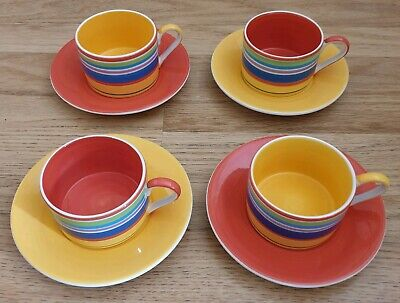 Whittard Striped Multicolour Coffee Cups Mugs Red Yellow Saucers Set Of 4