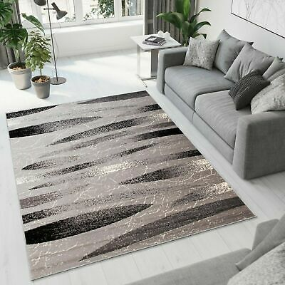 Grey Rug Modern Design Quality Small Extra Large Short Pile Striped Pattern Rugs