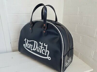 Vintage Von Dutch ' Bowling Bag' Blue White Piping And Decal Collectable Retro