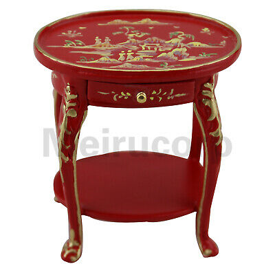 Dollhouse 1/12 Scale Miniature Furniture Exquisite red Hand Painted Side Table