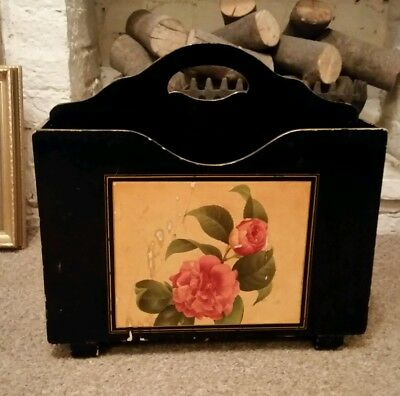Vintage wood painted shabby chic paper magazine rack retro floral 50 60s kitsch