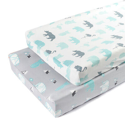 Baby Changing Pad Cover Cuty Animals Type Waterproof Stretchy Jersey Knit 2 Pack