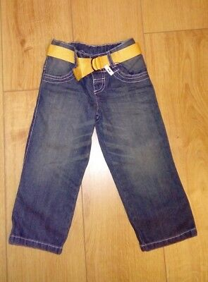 New Boys Marks And Spencer Denim Blue 100% Cotton Jeans With Belt Age 2/3 Years