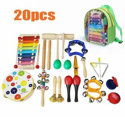 20pc Wooden Kids Musical Music Instruments Toys Set Children Toddler Percussion