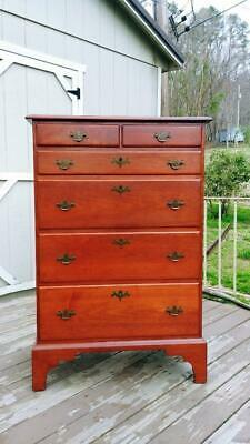Vintage Virginia Craftsmen Reproduction Solid Cherry Tall Chest of 6 Drawers