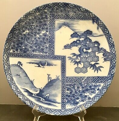 Large Japanese Taisho Blue & White Charger
