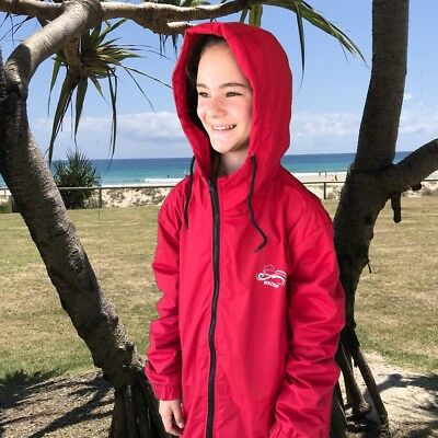 Swim Parka Wazsup Red Outer With Black S (deck coat, swim jacket, beach robe)