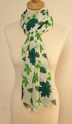New 100% Cotton Women's Green Spring Leaf Print Scarf By Juniper