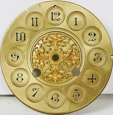 Antique French Embossed Bronze 8 Day Mantle Clock Dial - Great Spares