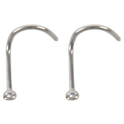 100 x CZ GEM Nose Screw Rings Stud Piercing Jewelry White, 0.8*2mm L1L3