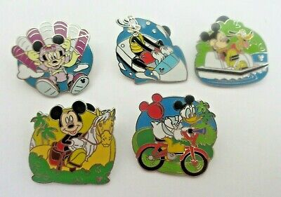 Disney Recreation Cast Lanyard 5 Trading Pins Mickey Mouse Complete Set EUC