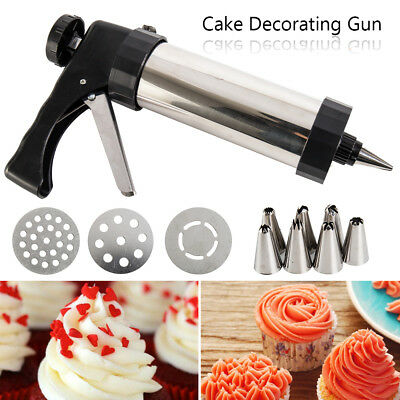 22pc Stainless Steel Biscuit Cookie Icing Cake Decorating Set Piping Gun Tools .