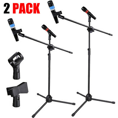 2X Microphone Stand Foldable Boom Adjustable Holder Tripod Black W/ 2 Mic Clips