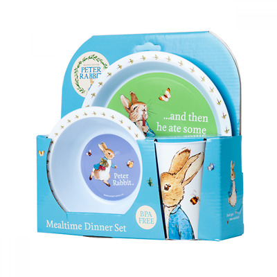 NEW Peter Rabbit Melamine Dinner Set 3pc  Includes Plate, Bowl and Cup  BPA Free