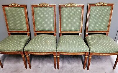 Set of 4 Vintage French Empire Dining Chairs w Hand Carved Gold Gilt Accents