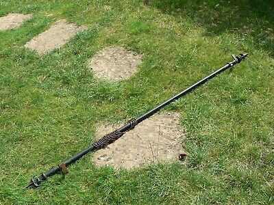 Unusual Antique Black Iron Curtain Pole Rod with Spearhead Finials