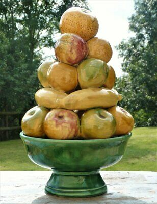 Vintage Retro Portuguese Majolica pottery Fruit stack with bowl stand