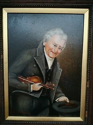 Amazing Antique 19th Century Oil Painting Violin Player - Signed