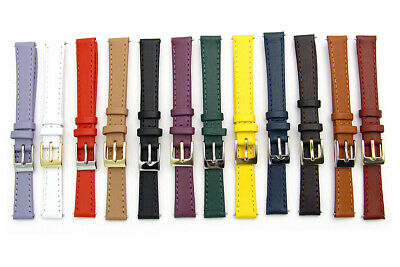 Ladies Smooth Stitched Leather Watch Band C088 Lots of Colours & Sizes!