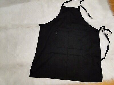 Poly Cotton Drill Black Bib Apron Standard Weight 70x86cm with Pocket