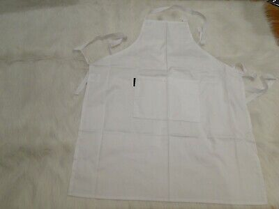 Poly Cotton Drill White Bib Apron Standard Weight 70x86cm with Pocket