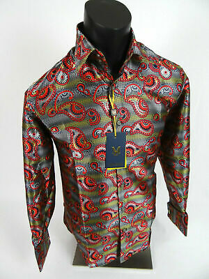 Mens Manzini Dress Shirt Red Yellow Silver Paisley French Cuff Link Button Front