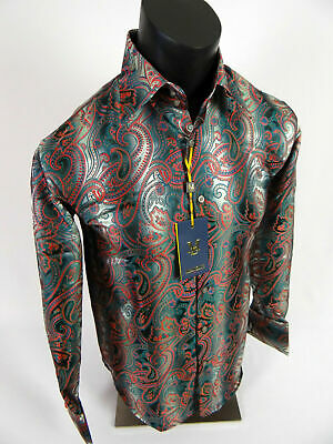 Mens Manzini Dress Shirt Green and Orange Paisley French Cuff Links Button Front