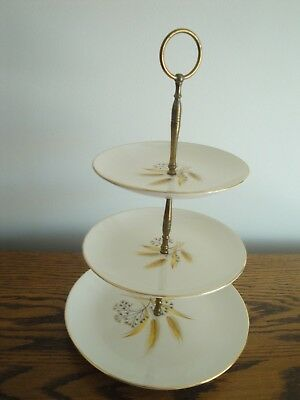 Vintage 3 TIER SERVING PLATE CAKE STAND WHITE WITH WHEAT PATTERN & GOLD RIM
