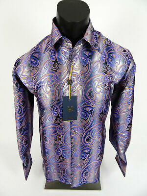 Mens Manzini Dress Shirt Lavender Silver Paisley French Cuff Links Button Front