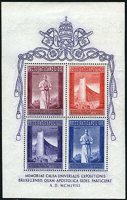 Vaticano 242a S/S, Mnh. Expo Brussels. Papa Pio XII, 1958