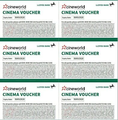 6 x Cineworld Cinema Tickets Club Lloyds Expiry Date 30/05/2020 - Email delivery