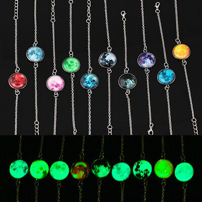Glowing Moon Fantasy Universe Glow in The Dark Glass Cabochon Bracelet CAL