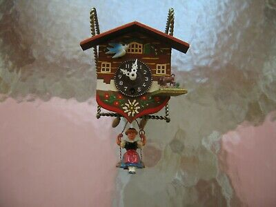 Cute Vintage Miniature German Chalet Cuckoo Clock With Lady On Swing