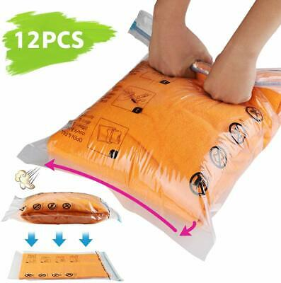 12 Travel Roll Up Compression Vacuum Storage Bags E