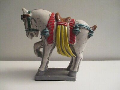 Mid-century Hollywood Regency Chinese Colorful Glazed Pottery Tang Horse Statue