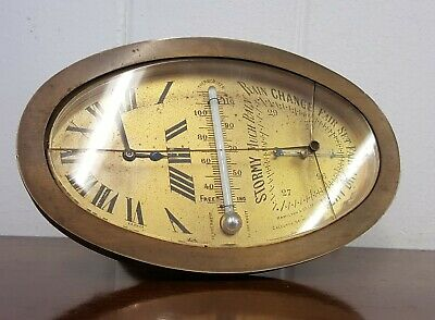 Antique 1921 Brass Desk Travel Clock Barometer Hamilton & Co.