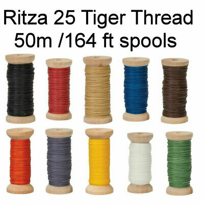 US SELLER Ritza Tiger Thread 50 Meter Wood SPOOL (164.5 ft) 0.8mm _0.6mm Leather