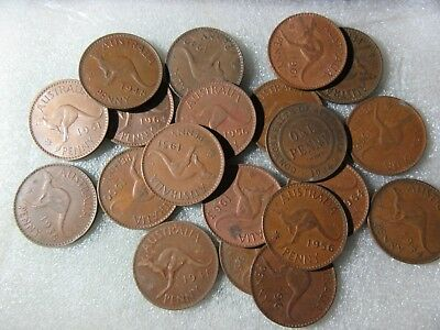 BULK PENNIES  9  DIFFERENT COINS  (1921 - 1964) see note re extra lots
