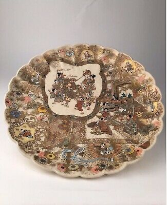 Antique Japanese Satsuma Scalloped Immortal Plate, Meiji Era 19C