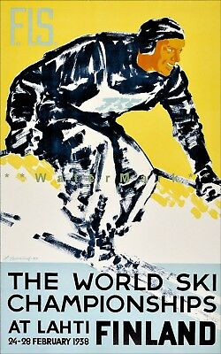 Finland Lahti 1938 World Ski Championships Vintage Poster Print Winter Sports