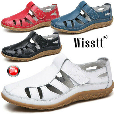 Women's Leather Sandals Flats Comfortable Casual Summer Walking Driving Shoes UK