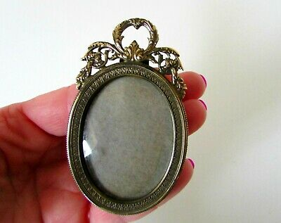 Antique Victorian French Gilt Bronze Miniature Oval Picture Frame