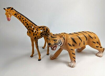 Tiger and Giraffe Figurine Hand Painted Toy Figures