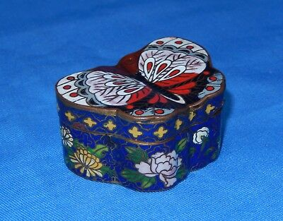 Vintage Chinese Cloisonne' Butterfly Trinket/Ring/Pill Box