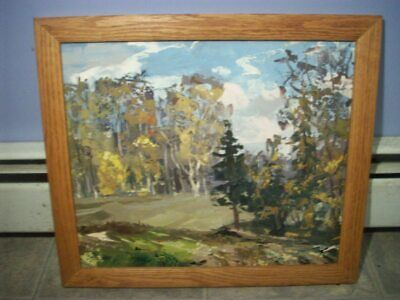 Vintage Morris Katz oil on board Landscape Nature painting 1980's  Unsigned