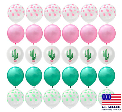 30-PC Cactus Balloon Set Latex Balloons Hawaiian Luau Tropical Party Decorations