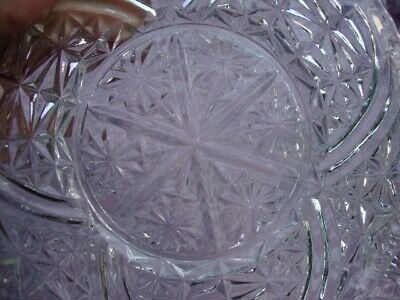 ABP Antique Star Cut Glass Crystal Clear Plates Set of 3